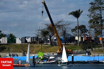 جزر و مد باعث آسیب به یکی از ورزشگاه های قایقرانی المپیک شد+ عکس