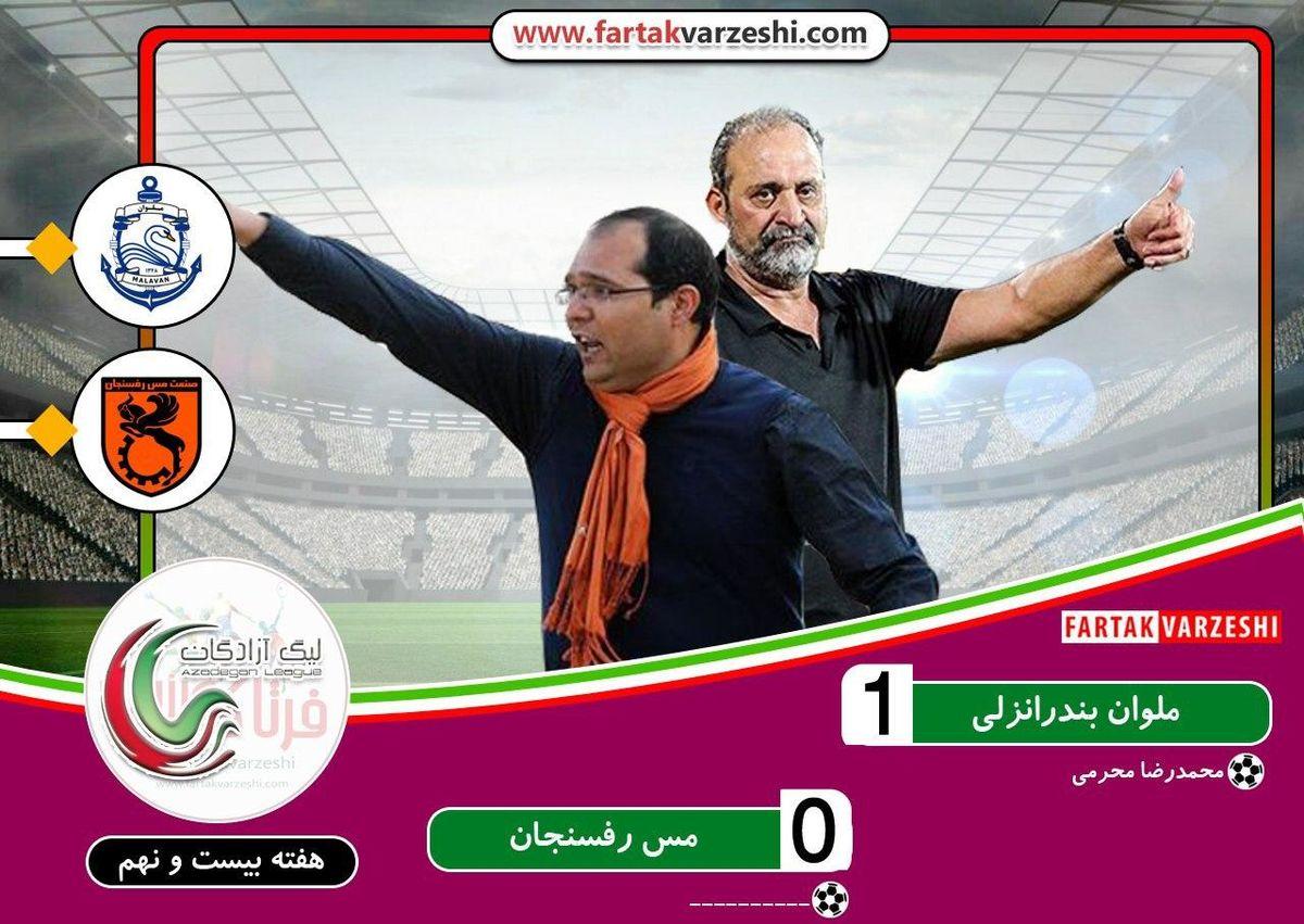 ملوان 1 مس رفسنجان 0؛ پیروزی ارزشمند قوی سپیدانزلی/ اکبر میثاقیان مچ ربیعی را خواباند