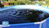 منهای ورزش/ شنا در استخر نوشابه! + فیلم