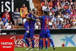 والنسیا 2-3 بارسلونا، رستگاری در دقیقه 92 با اعحوبه ای به نام مسی