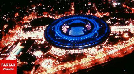 نمایی زیبا از ورزشگاه ماراکانا؛دقایقی قبل از شروع مراسم افتتاحیه