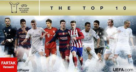 اسامی 10 نامزد نهایی دریافت جایزه بهترین بازیکن فصل 16-2015 اروپا